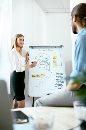 Photo pour Team Meeting. Business People Making Presentation On Board. Business Person Presenting Graphics On White Board, Working In  Office. High Resolution. - image libre de droit