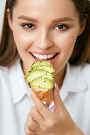 Photo for Woman Eating Healthy Diet Food - Royalty Free Image