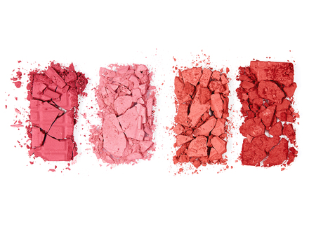 Foto de Colorful Crushed Blush Palette On White Background. Close Up Of Different Colors Powder Pressed Blushes. Makeup. Cosmetics Products. High Quality Image. - Imagen libre de derechos