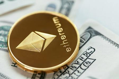 Foto de Ethereum Currency With Cash Close Up. Digital Currency Coin On Money Bills, Dollar Banknote. High Resolution - Imagen libre de derechos