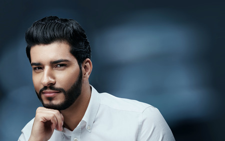 Photo for Men Beauty And Fashion. Handsome Man With Black Hair And Beard - Royalty Free Image