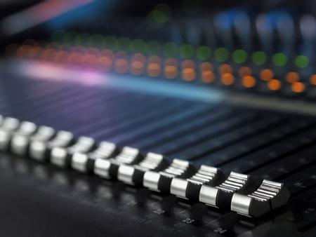 Photo for Sound Recording Studio Mixing Desk Closeup. Mixer Control Panel - Royalty Free Image
