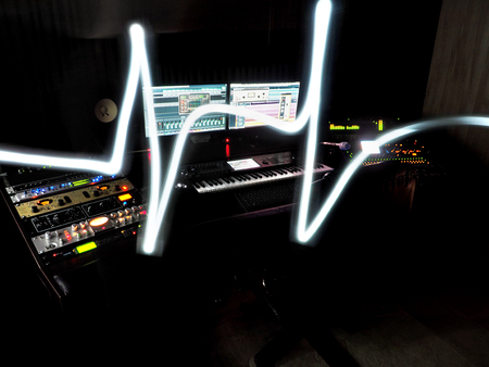 Photo for Sound Recording Studio With Music Recording Equipment - Royalty Free Image