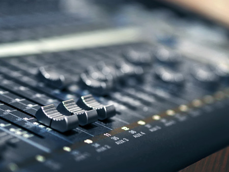 Photo for Music Mixer Control Panel In Recording Studio Closeup - Royalty Free Image