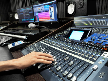 Photo for Sound Recording Studio With Professional Music Recording Equipment, Mixer Control Panel And Computer Monitors. High Resolution - Royalty Free Image