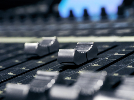 Photo for Music Mixer Control Panel In Professional Recording Studio. Closeup Of Sound Mixing Desk. High Resolution - Royalty Free Image