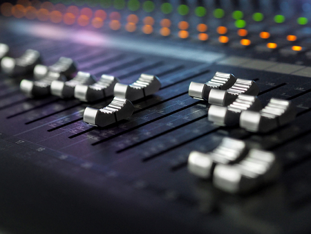 Photo for Sound Recording Studio Mixing Desk Closeup. Music Mixer Control Panel With Colorful Lights. High Resolution - Royalty Free Image