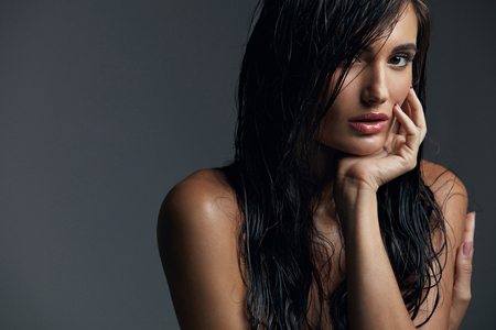 Photo for Beautiful Sexy Woman With Fashion Makeup And Long Wet Hair, Female Beauty Face. High Resolution - Royalty Free Image
