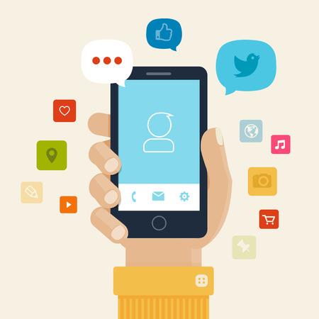 Illustration pour Smartphone apps flat icon design - image libre de droit