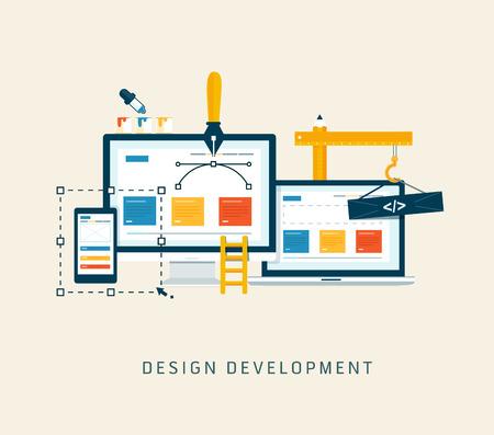 Ilustración de Designing a website or application  Flat style vector design - Imagen libre de derechos