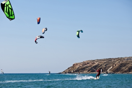 Kitesurfers  in sea  Greece