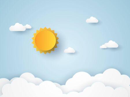Illustration pour Cloudscape , blue sky with clouds and sun , paper art style - image libre de droit