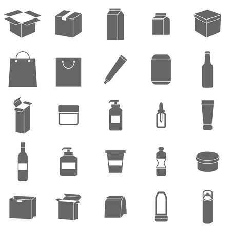 Illustration for Packaging icons on white background, stock vector - Royalty Free Image