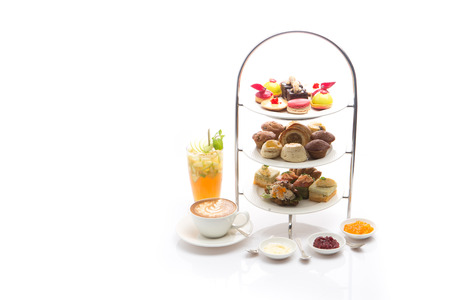Foto de Afternoon tea on white background - Imagen libre de derechos