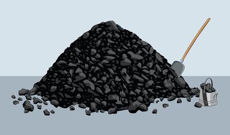 Illustration pour Pile of coal with shovel and bucket - image libre de droit