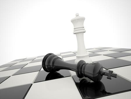 Foto de Chess victory white is winner - Imagen libre de derechos
