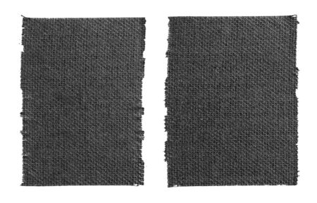 Photo pour Closeup two pieces of black matte cloth gaffer tape isolated on white background. Can be used for text. - image libre de droit