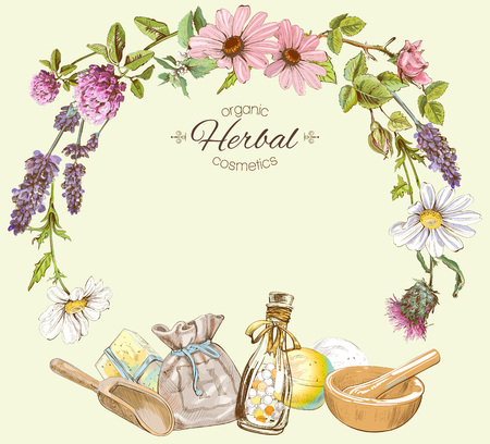 Ilustración de Vector vintage frame with wild flowers and herbs.Layout, mock up design for cosmetics, store, beauty salon, natural and organic products. Can be used like a greeting card. - Imagen libre de derechos