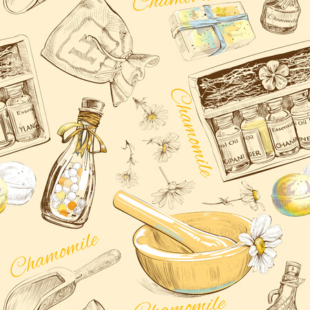 Illustration pour Chamomile natural cosmetic seamless pattern. Vector illustration - image libre de droit