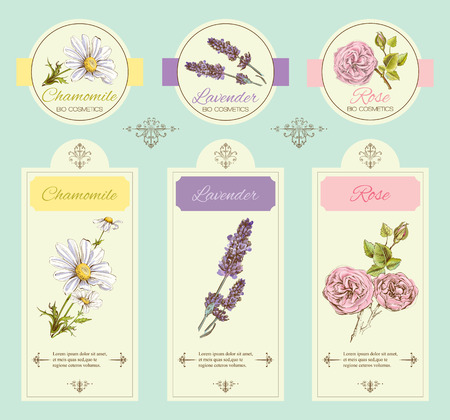 Ilustración de vintage template banner with wild flowers and medicinal herbs. Design for cosmetics, store, beauty salon, natural and organic, health care products. - Imagen libre de derechos