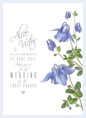 Illustration for Blue flower invitation - Royalty Free Image