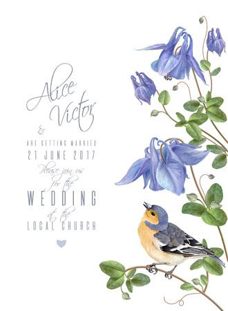 Illustration for Blue flower bird - Royalty Free Image