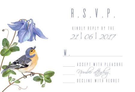 Illustration for Blue flower bird R.S.V.P. card - Royalty Free Image
