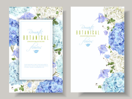 Illustration for Hydrangea banners blue - Royalty Free Image