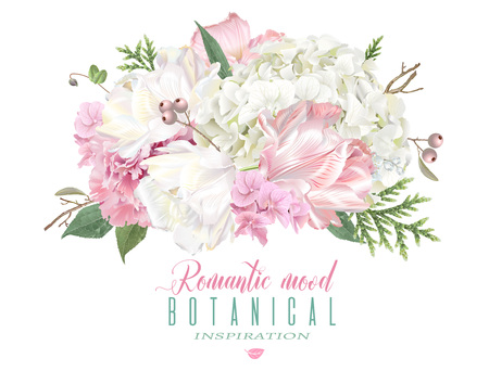 Illustration for Romantic flowers composition - Royalty Free Image
