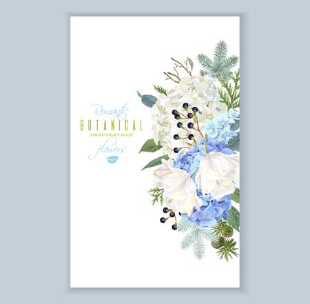 Illustration for Hidrangea winter vertical banner - Royalty Free Image