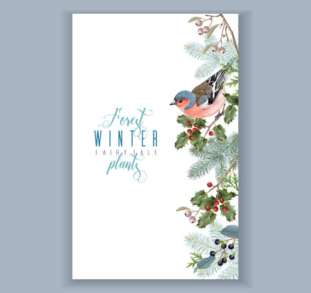 Illustration pour Bird winter border - image libre de droit