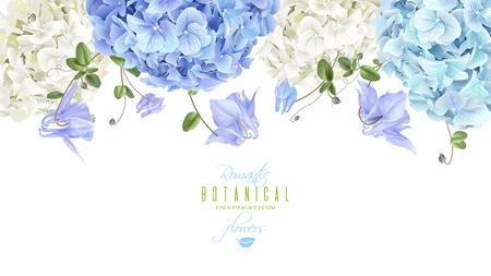 Illustration for Hidrangea horizontal border blue - Royalty Free Image