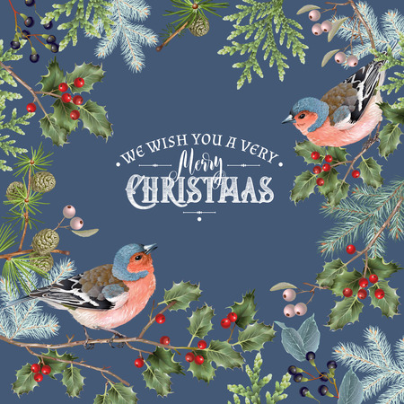 Illustration for Bird christmas big frame dark - Royalty Free Image