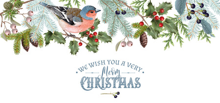 Illustration pour Bird Christmas border - image libre de droit