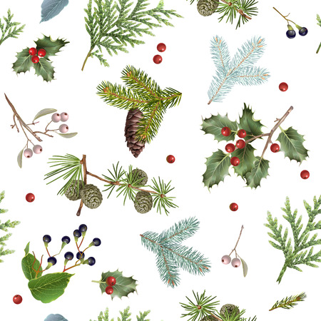 Illustration for Branch Christmas pattern - Royalty Free Image