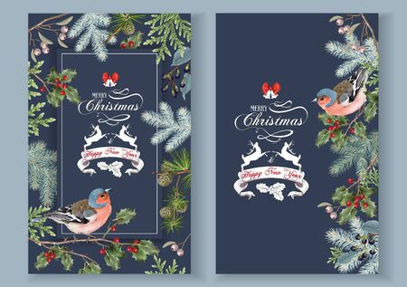 Illustration pour Bird christmas banners - image libre de droit