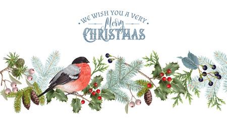 Illustration pour Bullfinch Christmas border - image libre de droit