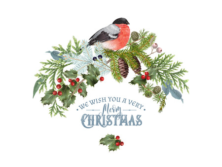 Illustration for Christmas concept with bullfinch design template - Royalty Free Image