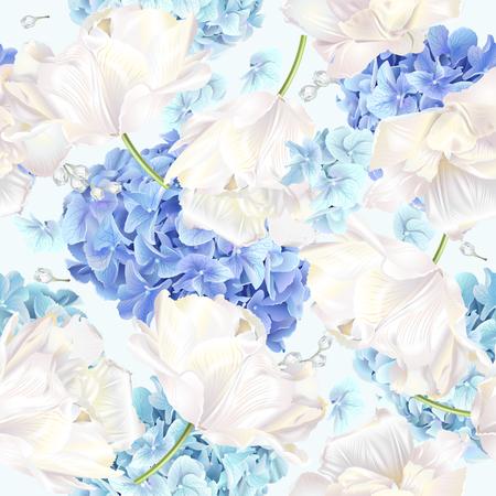 Ilustración de Vector seamless pattern with blue and white hydrangea flowers on blue background. Floral design for cosmetics, perfume, beauty care products. Can be used as greeting card, wedding invitation - Imagen libre de derechos