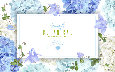 Ilustración de Vector horizontal banner with blue and white hydrangea flowers on white background. Floral design for cosmetics, perfume, beauty care products. Can be used as greeting card, wedding invitation - Imagen libre de derechos