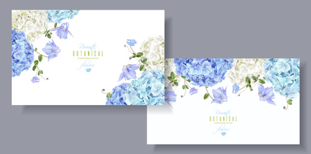 Illustration pour Hydrangea flowers horizontal banners blue - image libre de droit
