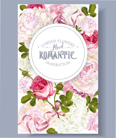 Illustration pour Romantic garden banner design. - image libre de droit