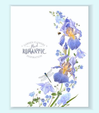 Illustration pour Blue flower wave border illustration on white background. - image libre de droit