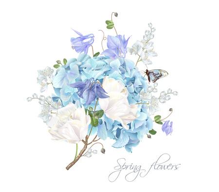 Ilustración de Hydrangea spring composition illustration on white background. - Imagen libre de derechos