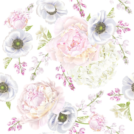 Illustration for Peont anemone pattern - Royalty Free Image