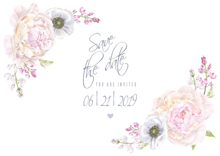 Illustration for Peony anemone save the date template Vector illustration. - Royalty Free Image