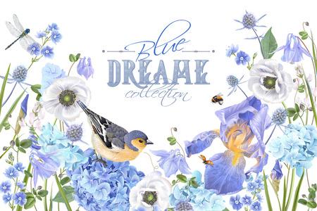 Ilustración de Blue flower bird banner vector illustration design. - Imagen libre de derechos