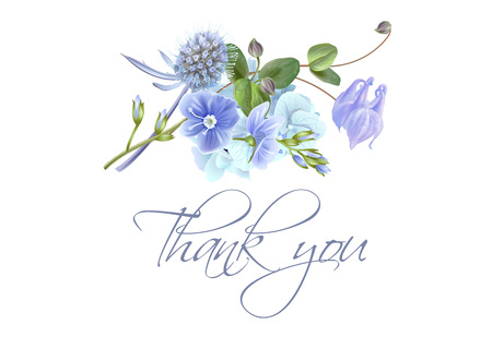 Illustration pour Blue flower thank you card - image libre de droit
