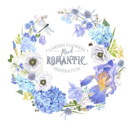 Illustration for Blue flower wreath - Royalty Free Image