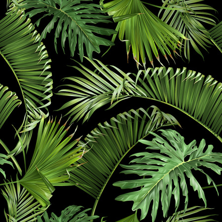 Illustration for Tropical leaves black pattern - Royalty Free Image